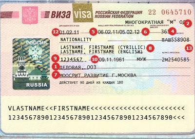 Russia Visa Sample